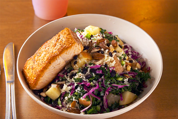 Kale Salad with Salmon from Flower Child