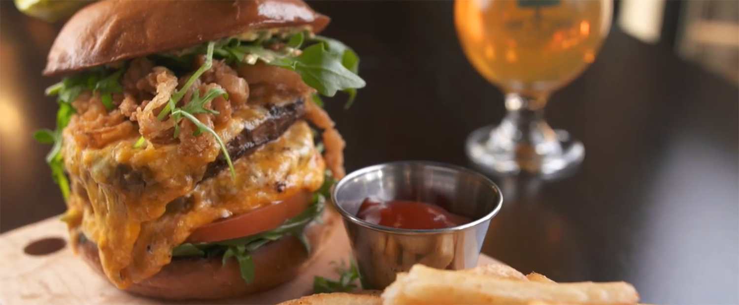 The Double Stack burger at From the Earth Brewing